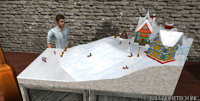 Model of children playing on snowy hill