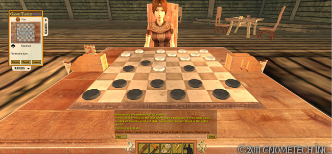 Playing checkers in the tavern